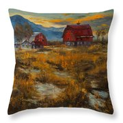 Valley Farm Sunset Throw Pillow