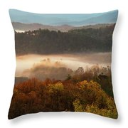 Valley Fog At Sunrise One Throw Pillow