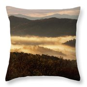 Valley Fog At Sunrise Two Throw Pillow