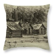 Valley Forge Barracks In Sepia Throw Pillow