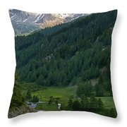 Valley In The French Alps Throw Pillow