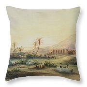 Valley Of The Nile With The Ruins Of The Temple Of Seti I Throw Pillow by Prosper Georges Antoine Marilhat