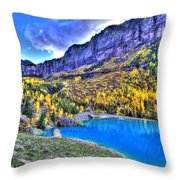 Valley Peak And Falls Throw Pillow