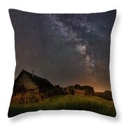 Valley Road Homestead Under A Milky Way Throw Pillow