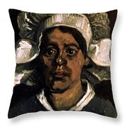 Van Gogh: Peasant, 19th C Throw Pillow
