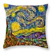 Van Gogh's 'starry Night' - Hdr Throw Pillow