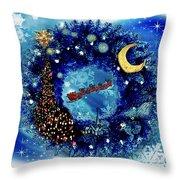 Van Gogh's Starry Night Wreath Throw Pillow