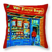 Van Horne Bagel Throw Pillow