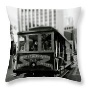 Van Ness And Market Cable Car- By Linda Woods Throw Pillow