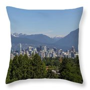 Vancouver Bc City Skyline And Mountains View Throw Pillow