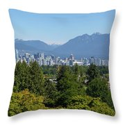 Vancouver Bc City Skyline From Queen Elizabeth Park Throw Pillow