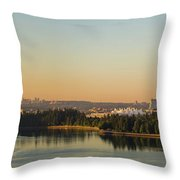 Vancouver Bc Cityscape By Stanley Park Morning View Throw Pillow