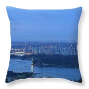 Vancouver Bc Cityscape During Blue Hour Dawn Throw Pillow
