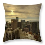 Vancouver Bc Cityscape During Sunset Throw Pillow