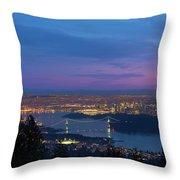 Vancouver Bc Cityscape Lions Gate Bridge Sunset Throw Pillow