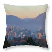 Vancouver Bc Downtown Cityscape At Sunset Panorama Throw Pillow