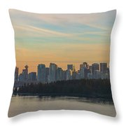 Vancouver Bc Skyline Along Stanley Park At Sunset Throw Pillow