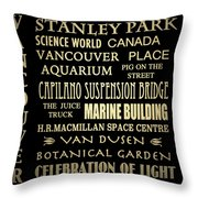 Vancouver Canada Famous Landmarks Throw Pillow