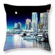 Vancouver Harbor Moonrise  Throw Pillow