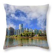 Vancouver Skyline Under The Morning Clouds Throw Pillow by Ola Allen