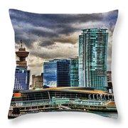 Vancouver Skyline Hdr Throw Pillow