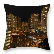 Vancouver Skyline Throw Pillow by Nancy Harrison