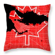 Vancouver Street Map - Vancouver Canada Road Map Art On Canada Flag Symbols Throw Pillow