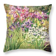 Vandusen Garden Iris Bridge Throw Pillow
