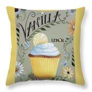 Vanilla Lemon Cupcake Throw Pillow by Catherine Holman