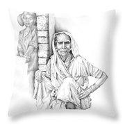 Varanasi Woman Throw Pillow