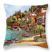Varenna On Lake Como Throw Pillow by Guido Borelli