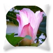 Variegated Hibiscus Flower In Circle Throw Pillow