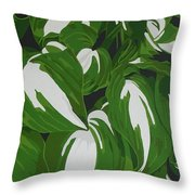 Variegated Hostas Throw Pillow