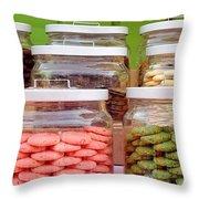 Various Cookies In Glass Jars Throw Pillow