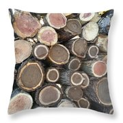 Various Firewood In The Round Throw Pillow