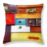 Various Old Drawers - In Utter Secrecy Throw Pillow