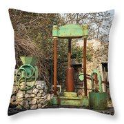 Various Old Rusty Vintage Agricultural Devices In Croatia Throw Pillow