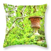 Vase In The Green Throw Pillow