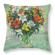 Vase Lilies Painting Throw Pillow
