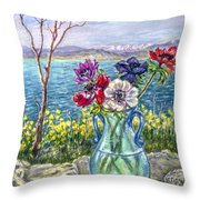 Vase Of Anemones With View Of Nafplio Throw Pillow
