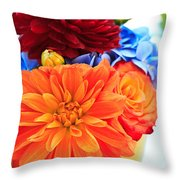 Vase Of Colorful Flowers Throw Pillow