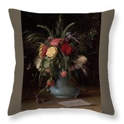 Vase Of Flowers And A Visiting Card Throw Pillow