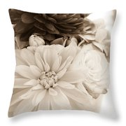 Vase Of Flowers In Sepia Throw Pillow