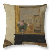 Vase Of Flowers On A Mantelpiece Throw Pillow