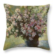 Vase Of Malva Flowers, 1880 Throw Pillow