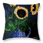 Vase Of Sunflowers Throw Pillow