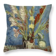 Vase With Gladioli And Chinese Asters Throw Pillow