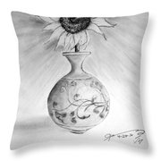 Vase With One Sunflower Throw Pillow