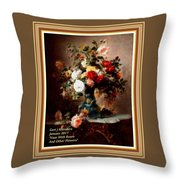 Vase With Roses And Other Flowers L A With Alt. Decorative Ornate Printed Frame. Throw Pillow