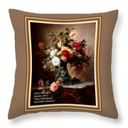 Vase With Roses And Other Flowers L A With Decorative Ornate Printed Frame. Throw Pillow